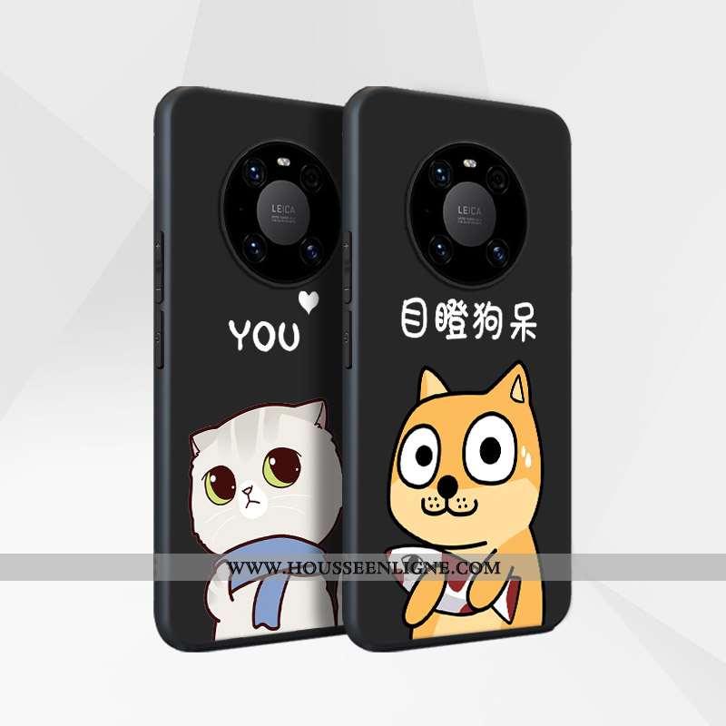 Étui Huawei Mate 40 Délavé En Daim Silicone Incassable Coque Noir Luxe