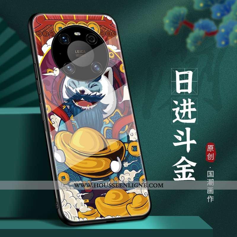 Étui Huawei Mate 40 Légère Protection Ultra Style Chinois Créatif Rouge Verre
