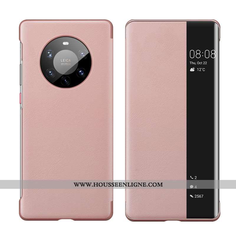 Étui Huawei Mate 40 Pro+ Cuir Protection Incassable Dormance Téléphone Portable Windows Rose