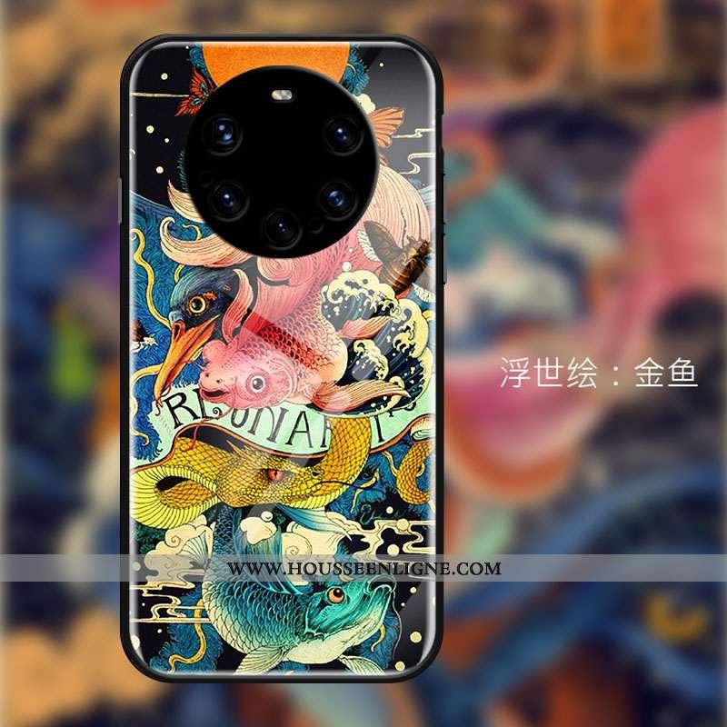 Étui Huawei Mate 40 Pro+ Verre Personnalité Noir Créatif Téléphone Portable Tendance