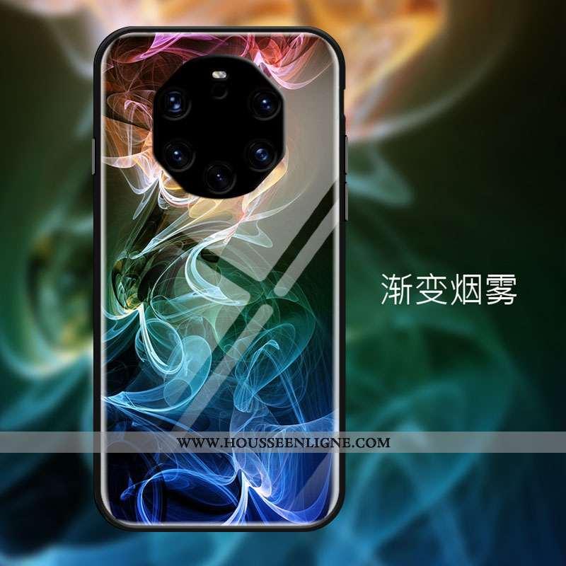 Étui Huawei Mate 40 Rs Créatif Protection Verre Tempérer Cool Personnalité Bleu