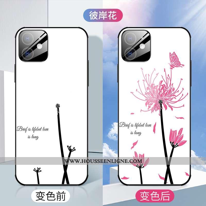 Étui iPhone 12 Mini Verre Personnalité Luxe Incassable Créatif Légère Coque Blanche