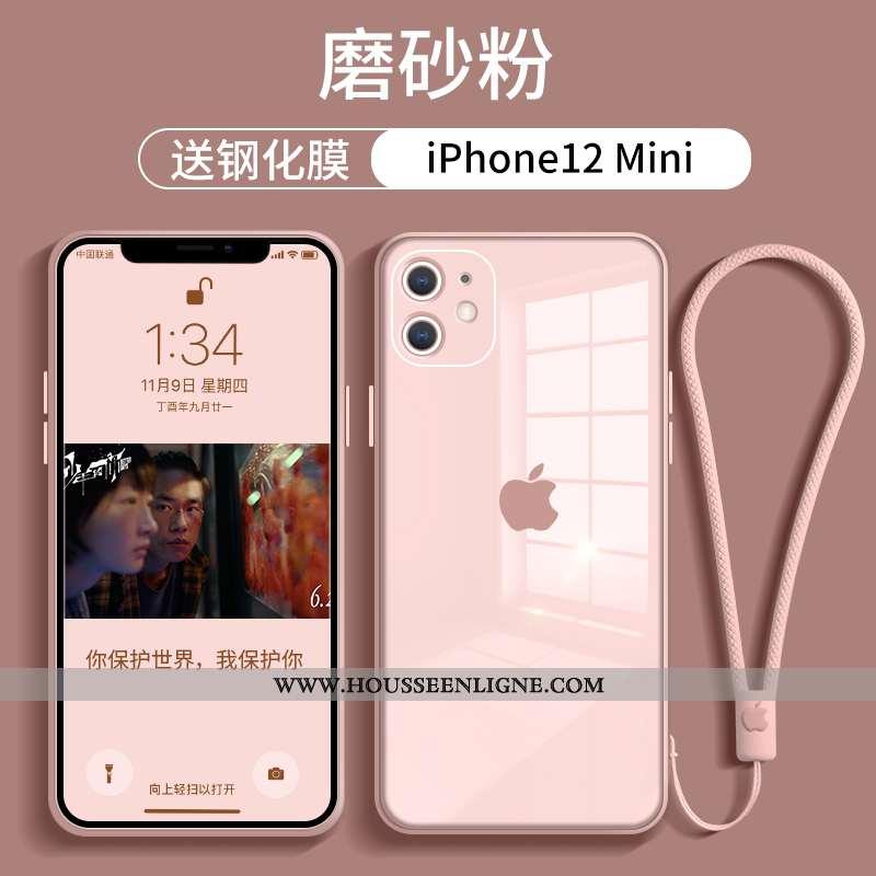 Étui iPhone 12 Mini Verre Tendance Téléphone Portable Tout Compris Net Rouge Rose Incassable