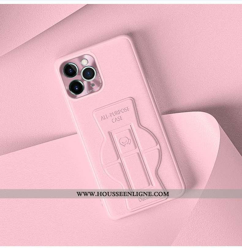 Étui iPhone 12 Pro Cuir Silicone Téléphone Portable Protection Simple Couleur Unie Incassable Rose