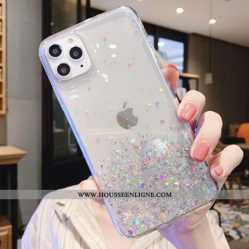 Étui iPhone 12 Pro Luxe Transparent Net Rouge Argent Téléphone Portable Rose Blanche