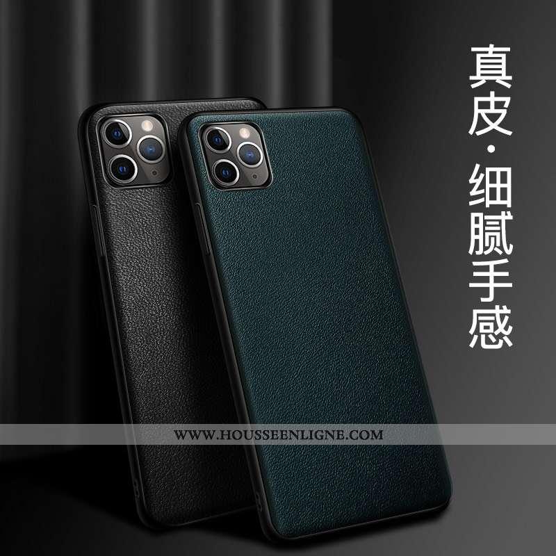 Étui iPhone 12 Pro Protection Cuir Véritable Tout Compris Coque Téléphone Portable Bovins Verte