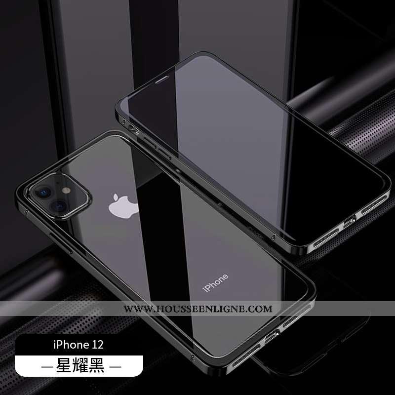 Étui iPhone 12 Protection Luxe Téléphone Portable Reversible Tendance Net Rouge Noir