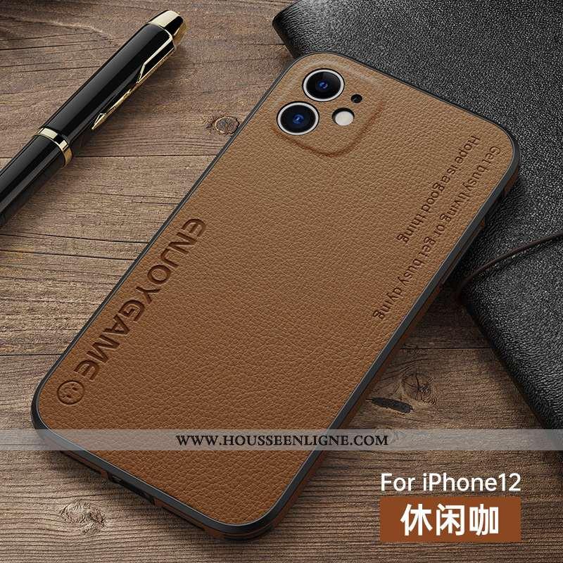 Étui iPhone 12 Protection Personnalité Incassable Tout Compris Légère Ultra Marron