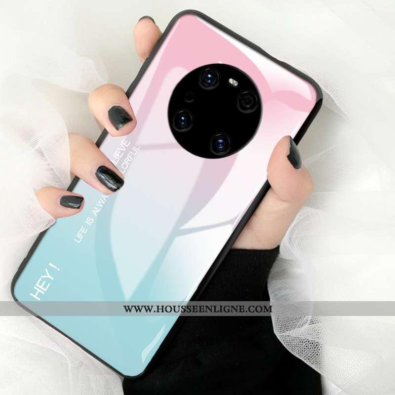 Coque Huawei Mate 40 Pro Silicone Mode Tout Compris Étui Verre Téléphone Portable Rose