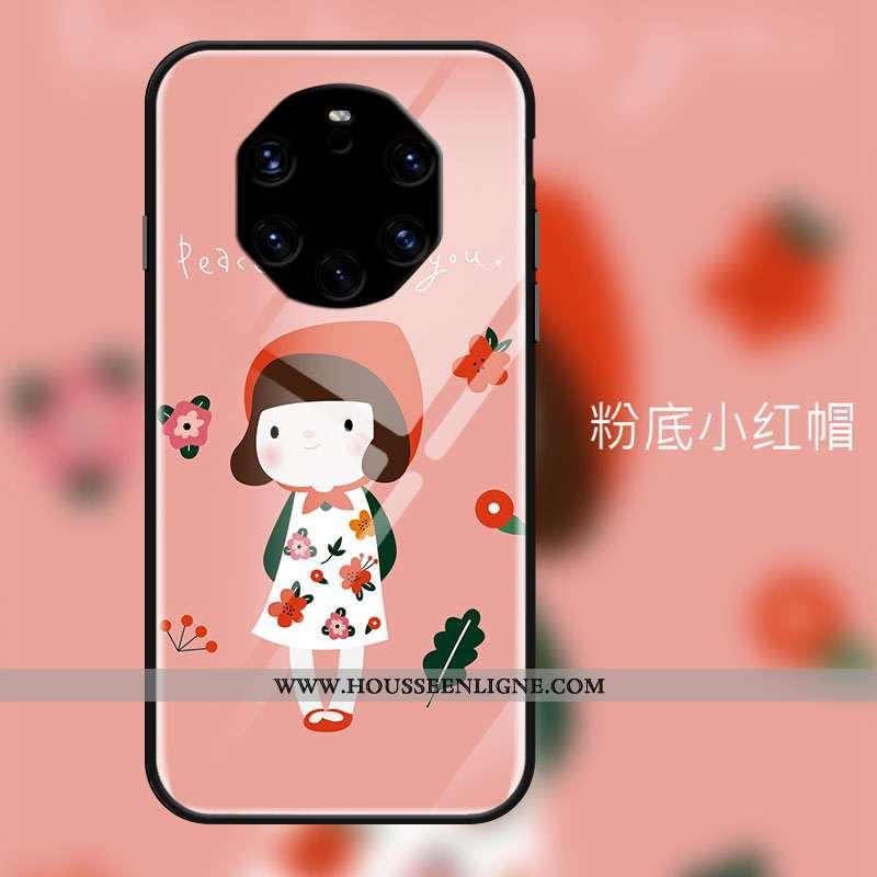 Coque Huawei Mate 40 Rs Ornements Suspendus Dessin Animé Verre Petit Étui Art Téléphone Portable Ros