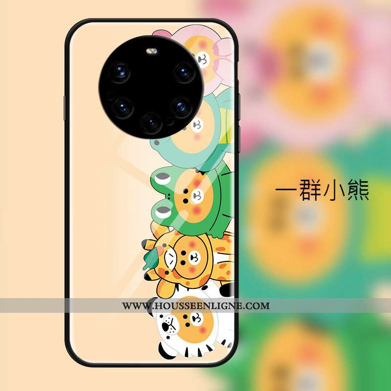 Coque Huawei Mate 40 Rs Protection Verre Miroir Jaune Tendance Dessin Animé Téléphone Portable