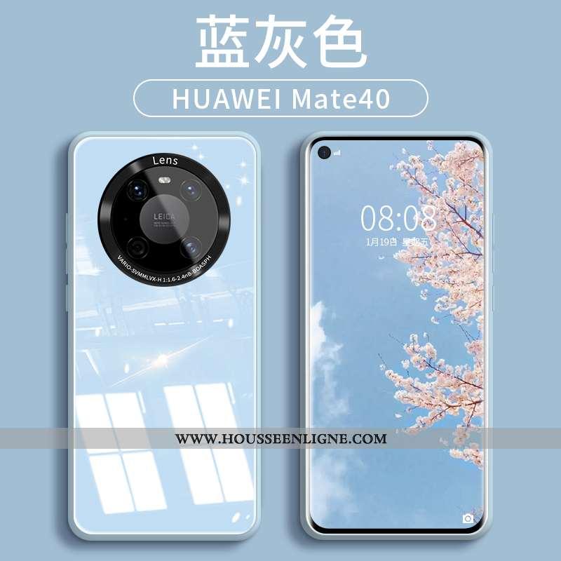 Coque Huawei Mate 40 Silicone Protection Bleu Téléphone Portable Verre Tendance
