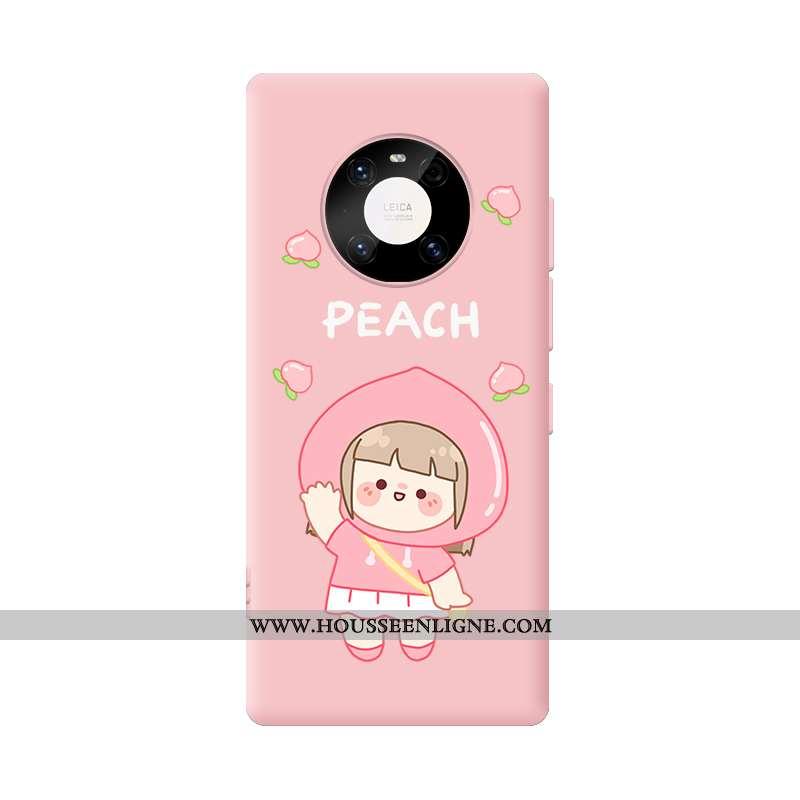 Coque Huawei Mate 40 Ultra Légère Dessin Animé Amoureux Silicone Téléphone Portable Rose