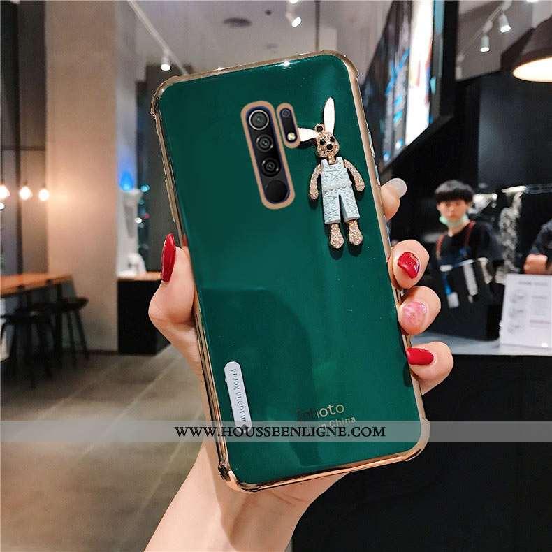Coque Xiaomi Redmi 9 Mode Protection Silicone Simple Incruster Strass Téléphone Portable Étui Verte