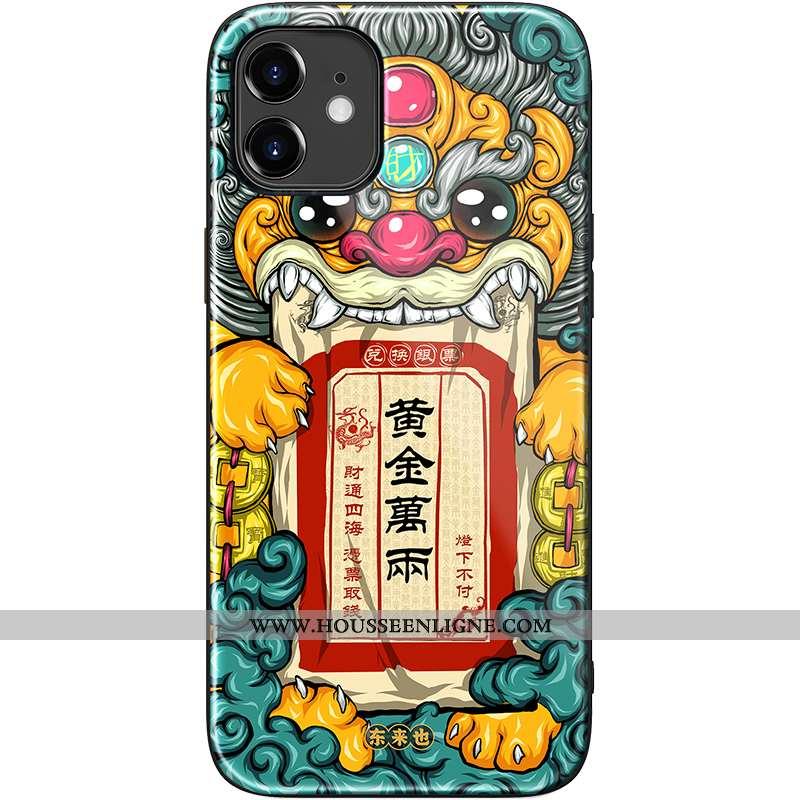 Coque iPhone 12 Mini Silicone Verre Incassable Téléphone Portable Vert Personnalité Verte