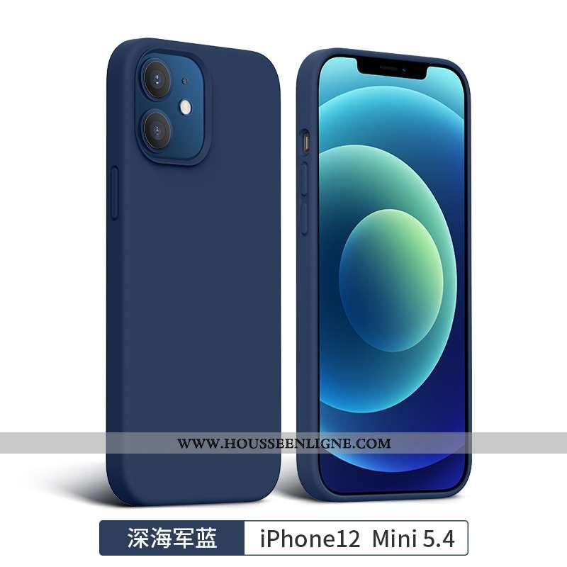 Coque iPhone 12 Mini Tendance Silicone Incassable Téléphone Portable Tout Compris Bleu Marin Bleu Fo
