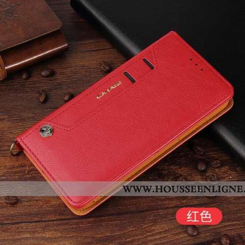 Coque iPhone 12 Pro Cuir Véritable Cuir Business Téléphone Portable Incassable Housse Carte Rouge