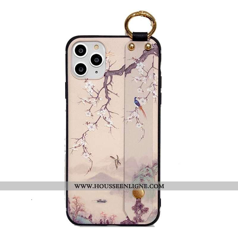 Coque iPhone 12 Pro Gaufrage Vintage Téléphone Portable Rose Protection Étui