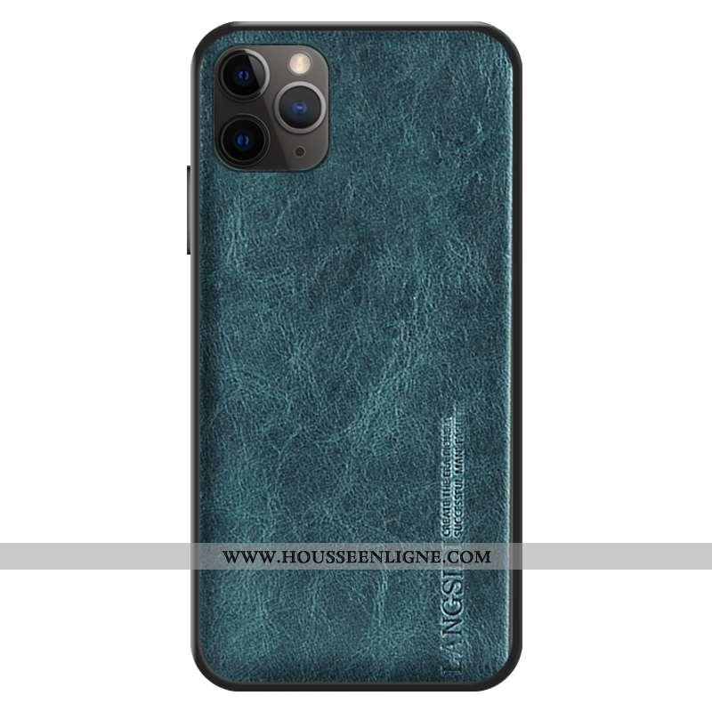Coque iPhone 12 Pro Max Personnalité Cuir Véritable Bovins Étui Bleu Cuir Incassable
