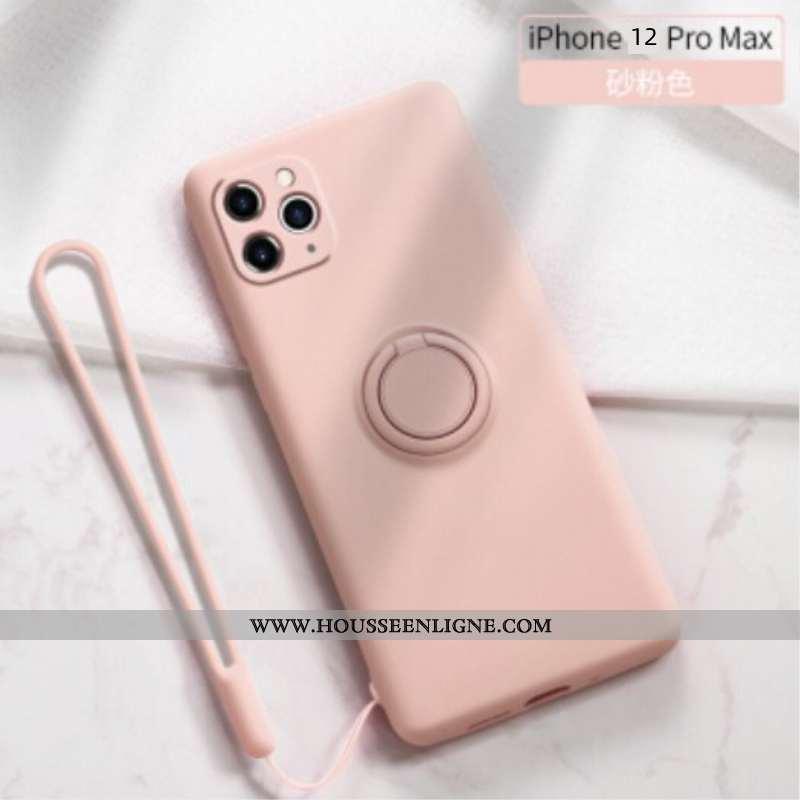 Coque iPhone 12 Pro Max Ultra Légère Anneau Support Rose Personnalité Tout Compris