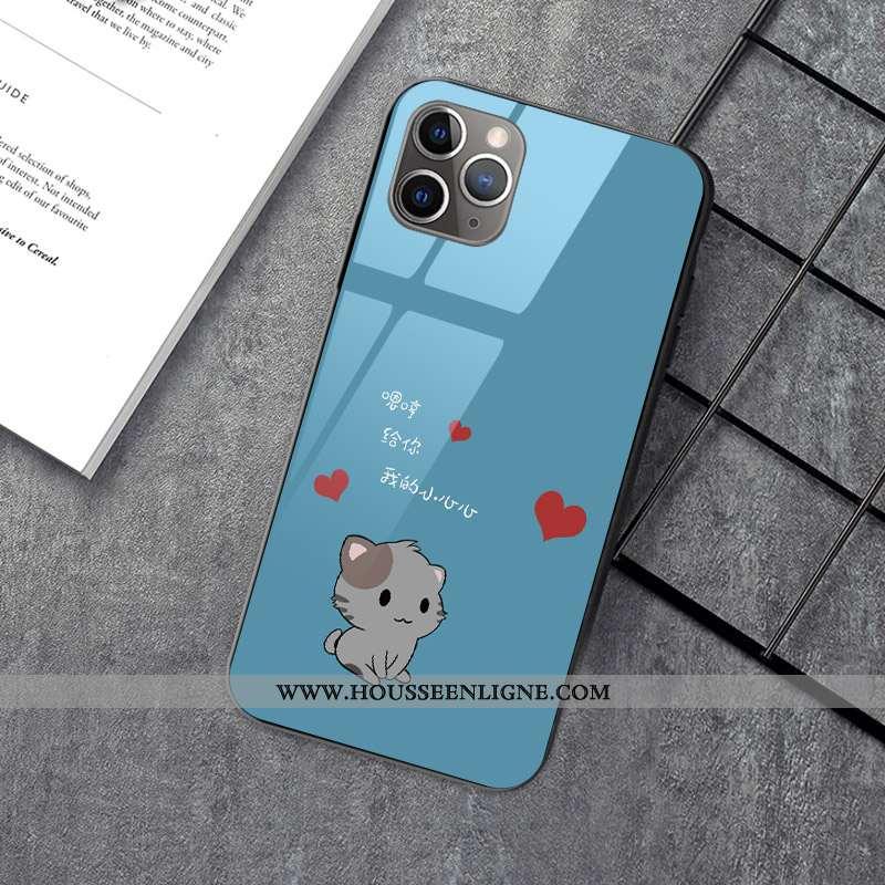 Coque iPhone 12 Pro Personnalité Créatif Nouveau Dessin Animé Chat Verre Bleu