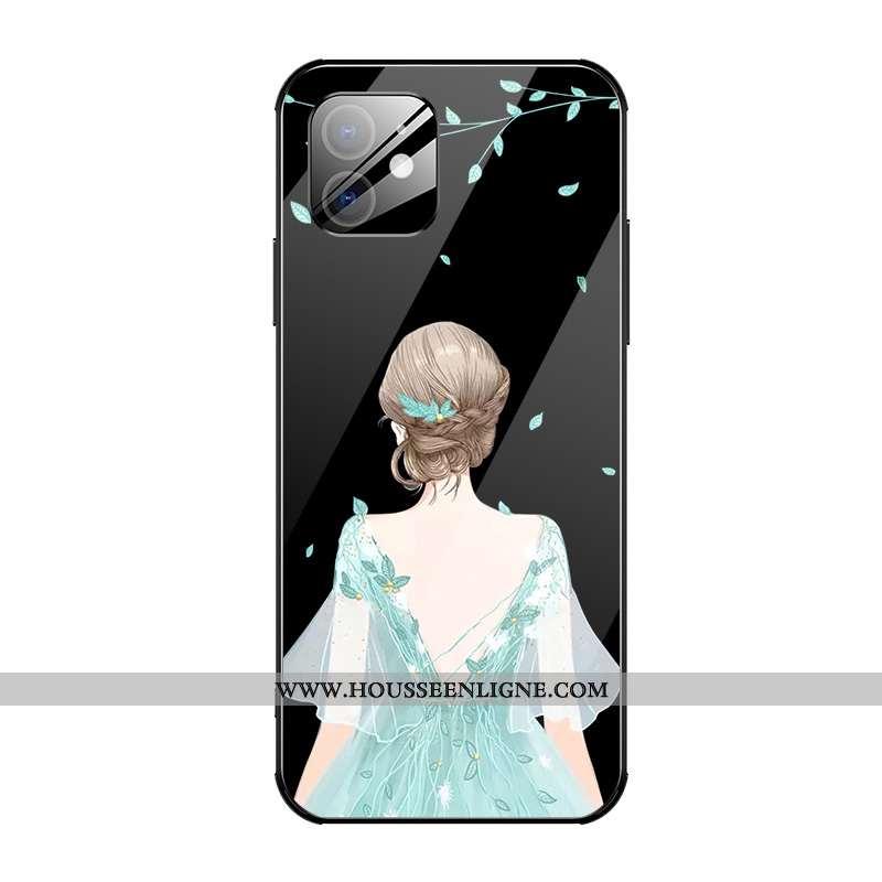 Coque iPhone 12 Verre Personnalité Noir Légère Mode Incassable Étui