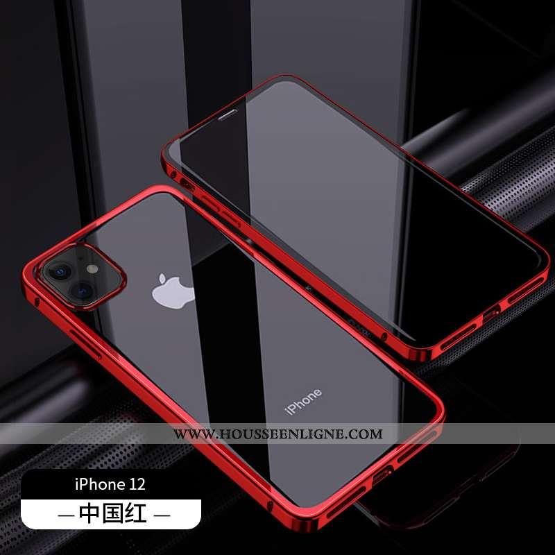 Coque iPhone 12 Verre Transparent Nouveau Rouge Luxe Téléphone Portable Luxe
