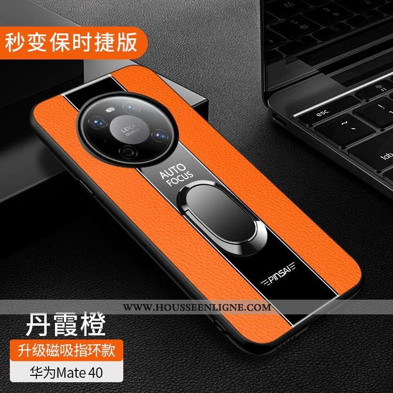 Housse Huawei Mate 40 Cuir Véritable Coque Orange Magnétisme Tout Compris Net Rouge Incassable