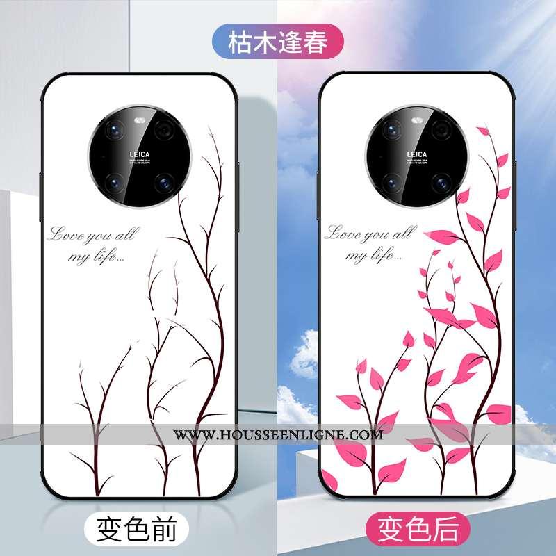 Housse Huawei Mate 40 Mode Personnalité Fleur Ultra Blanc Tendance Net Rouge Blanche