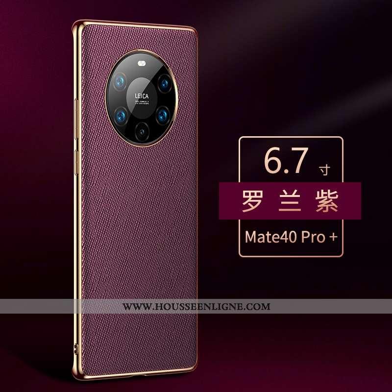 Housse Huawei Mate 40 Pro+ Cuir Véritable Protection Luxe Violet Tout Compris Luxe Incassable