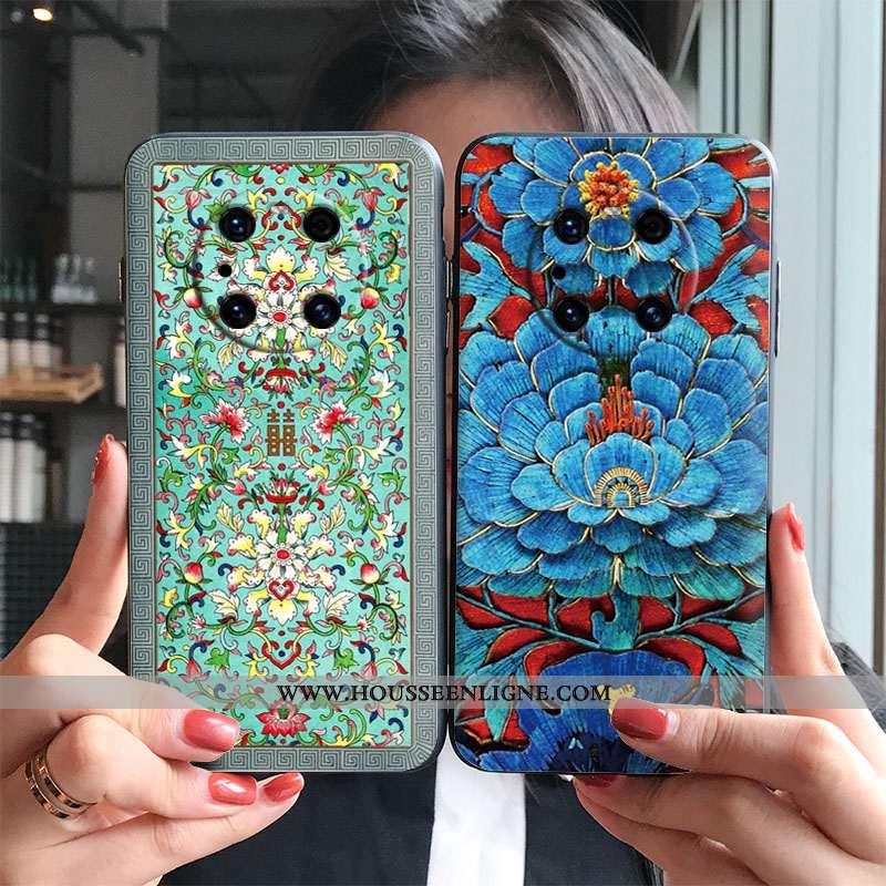 Housse Huawei Mate 40 Pro Ornements Suspendus Vintage Étui Bleu Ethnique Vent Téléphone Portable
