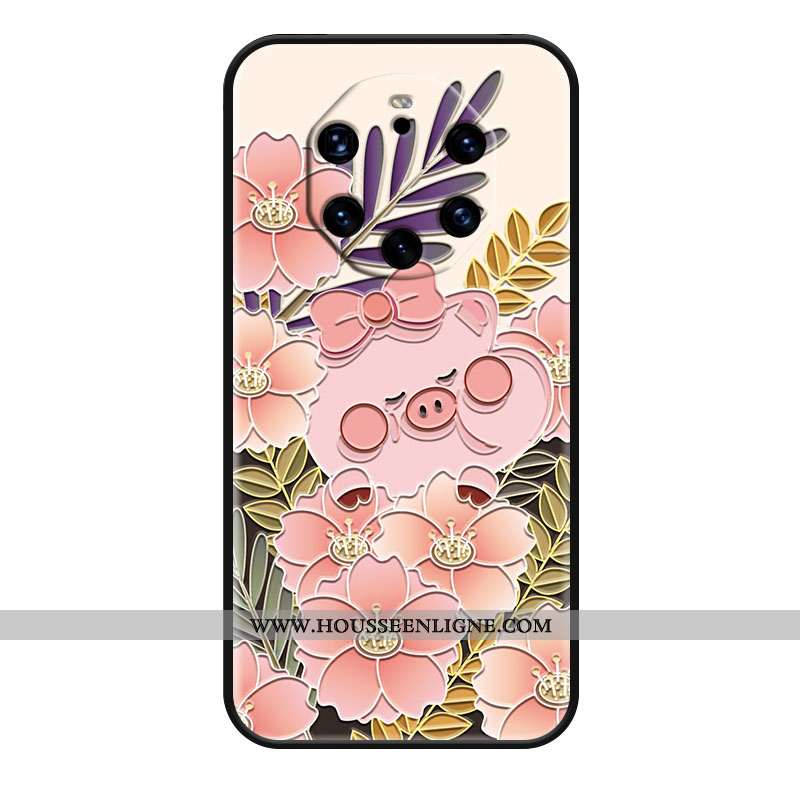 Housse Huawei Mate 40 Rs Protection Gaufrage Téléphone Portable Dessin Animé Silicone Rose Coque