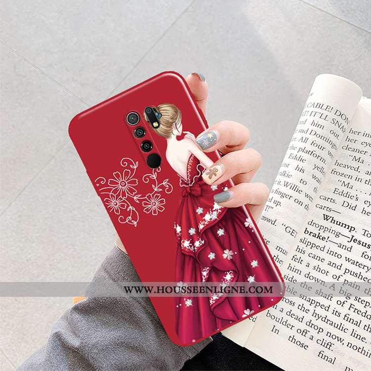 Housse Xiaomi Redmi 9 Protection Créatif Mode Rouge Tendance Incassable Coque Bordeaux