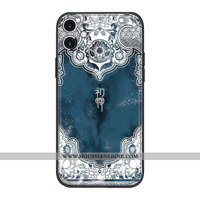 Housse iPhone 12 Créatif Tendance Style Chinois Nouveau Bleu Marin Personnalité Tout Compris Bleu Fo
