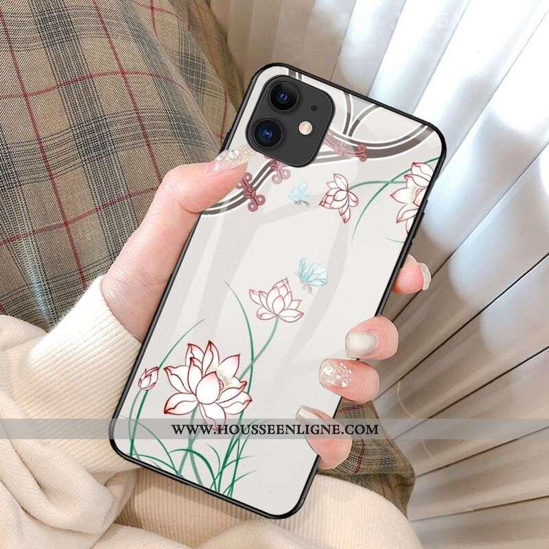 Housse iPhone 12 Mini Tendance Légère Luxe Personnalité Tout Compris Fleur Ultra Blanche
