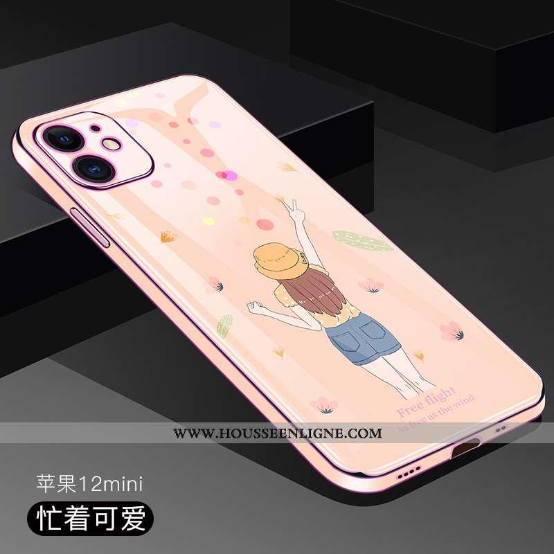 Housse iPhone 12 Mini Ultra Tendance Légère Transparent Téléphone Portable Incassable Protection Ros