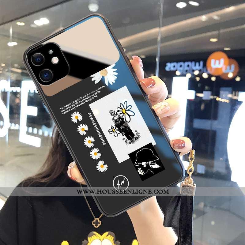 Housse iPhone 12 Mode Verre Étui Créatif Coque Fleur Noir