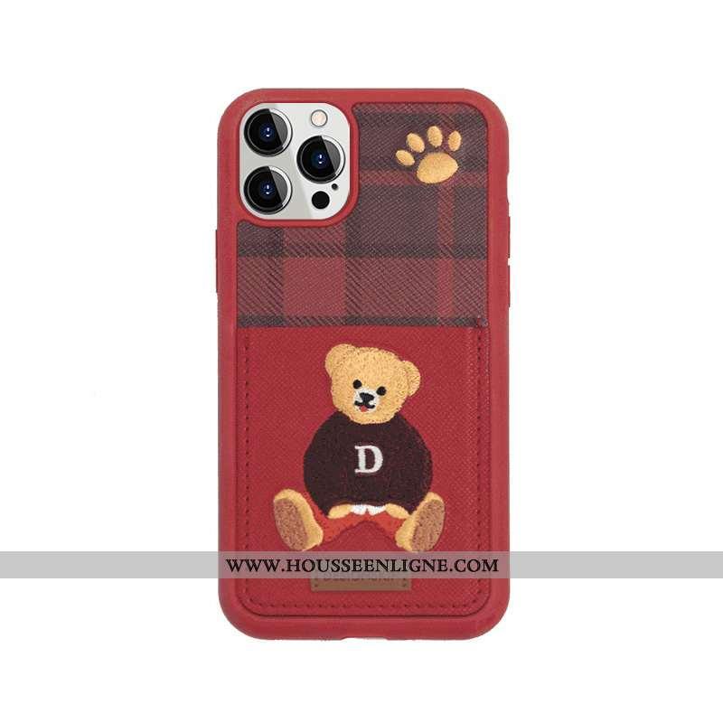 Housse iPhone 12 Pro Max Cuir Charmant Britanique Vert Foncé Amoureux Téléphone Portable Carte Rouge