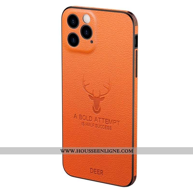 Housse iPhone 12 Pro Max Légère Cuir Qualité Amoureux Simple Créatif Véritable Silicone Orange