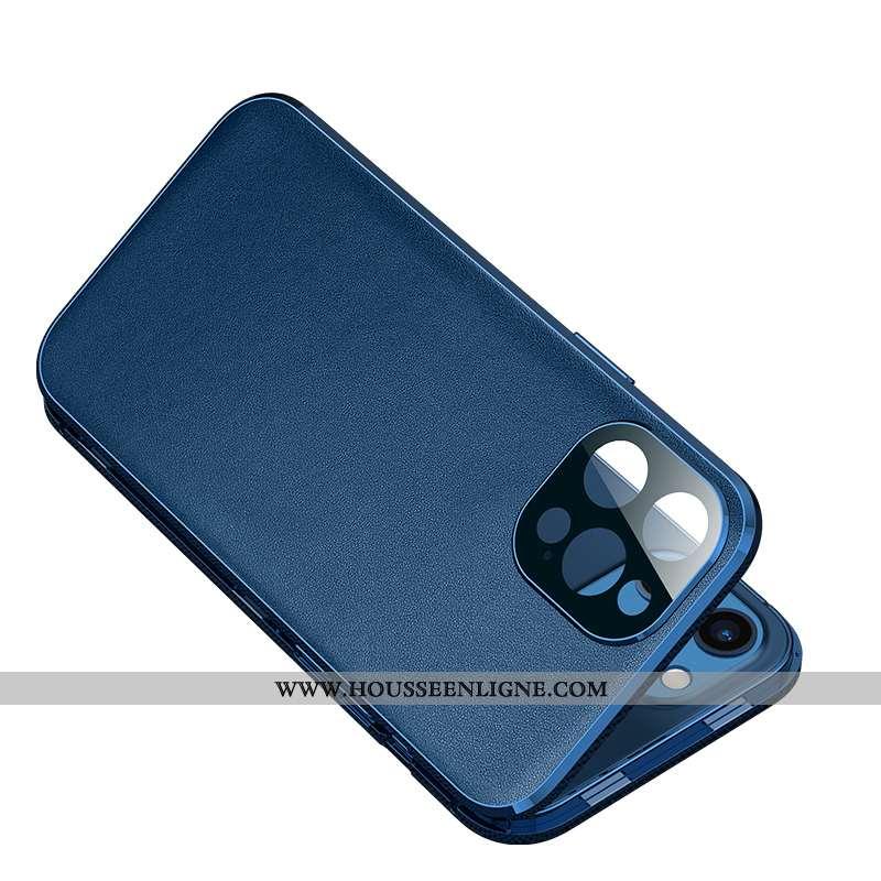 Housse iPhone 12 Pro Max Métal Verre Ultra Protection Étui Nouveau Cuir Bleu